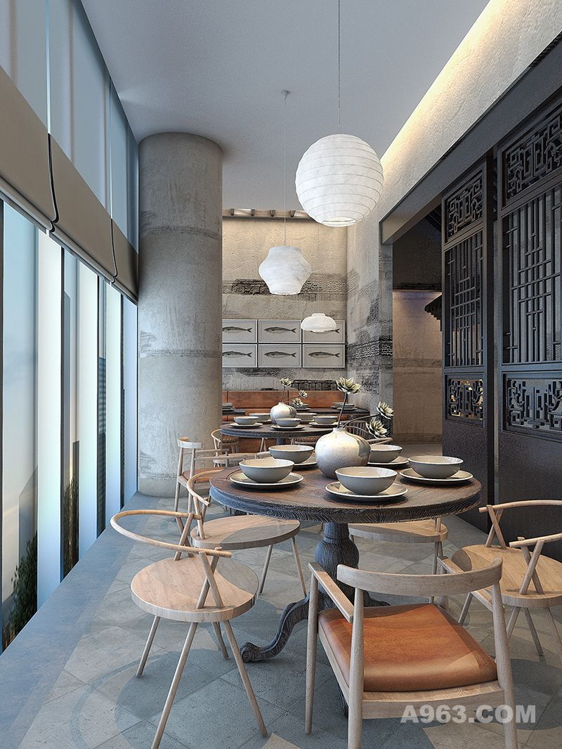 徽派主题餐厅设计-北京杨记兴臭蹶鱼餐厅-杭州象内设计说明