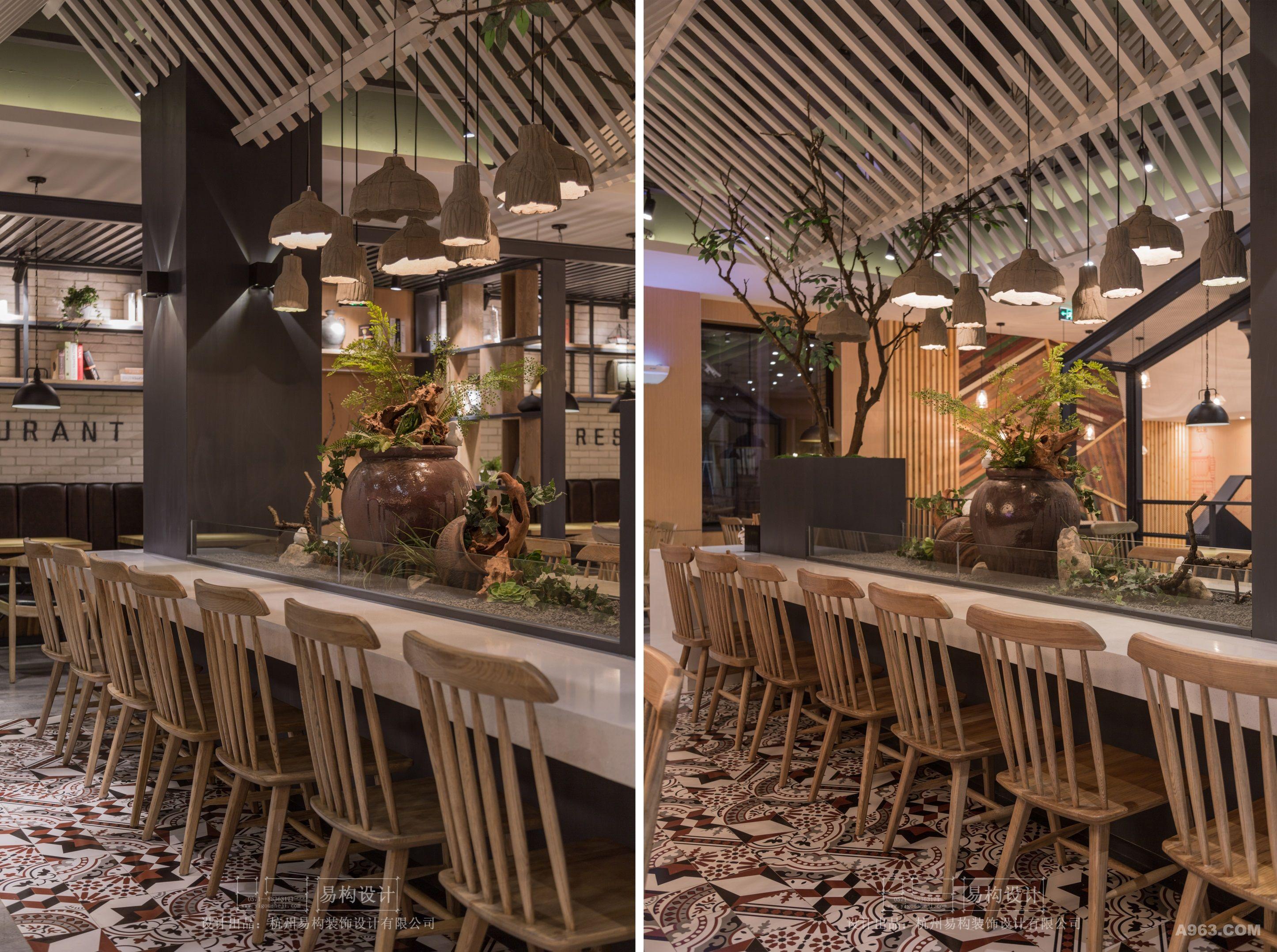 """项目名称:来餐厅—Lai Resaurant 项目地址:宁波市江东区中兴路(家乐福超市对面) 面积:420平米 完成时间:2015年12月 设计公司:杭州易构装饰设计有限公司 设计主创:王志洪 设计说明: """"来餐厅"""",看上去格调很高,但其实他只是一家中式快餐厅,是""""来必堡""""中式快餐厅的升级版概念店,然而业主与设计师却都想借此打破对传统中式快餐的固化认识,传递一种全新的餐饮文化信息。中式快餐厅也可以很有创意、也可以高大上、也可以很休闲。 以往的中式"""